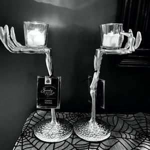 NEW Spooky GLAM - Skeleton Hands - Candlestick Set